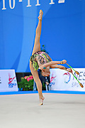 Ashirbayeva Sabina during qualifying at clubs in Pesaro World Cup 11 April 2015.<br /> Sabina born on November 5, 1998 in Shymkent, she is an individual Kazakh rhythmic gymnast.