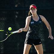 10 November 2017:  The San Diego State Aztecs women's tennis team hosts it's annual Fall Classic II. Jennifer Moinard returns a serve during a doubles match.<br /> www.sdsuaztecphotos.com