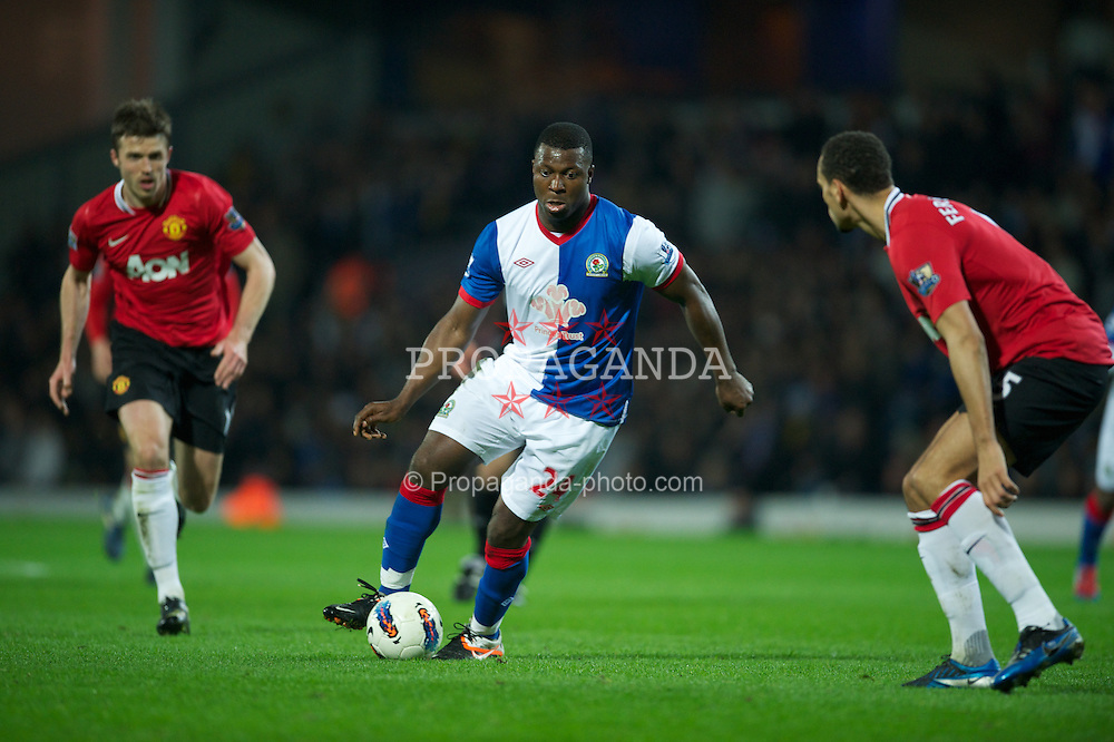 BLACKBURN, ENGLAND - Monday, April 2, 2012: Blackburn Rovers' Ayegbeni Yakubu in action against Manchester United during the Premiership match at Ewood Park. (Pic by David Rawcliffe/Propaganda)