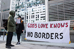 London, UK. 11th February, 2019. Campaigners against immigration deportations and the Government's hostile environment stage a 'People's Trial of the Home Office' including direct testimonies by individuals affected and performances by musicians and poets.
