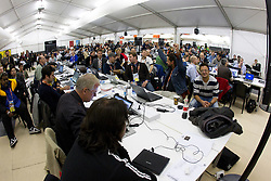Journalist watching the  2010 FIFA World Cup South Africa Quarter Finals football match between Argentina and Germany on July 03, 2010 at Ellis Park Stadium Media Centre in Johannesburg. (Photo by Vid Ponikvar / Sportida)