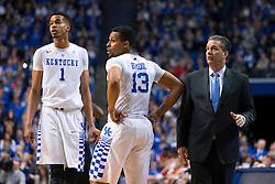 Kentucky forward Skal Labissiere, left, guard Isaiah Briscoe and Kentucky head coach John Calipari watch free throw shooting in the second half.<br /> <br /> The University of Kentucky hosted the University of Georgia, Tuesday, Feb. 09, 2016 at Rupp Arena in Lexington .