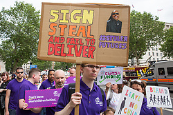 London, UK. 30 May, 2019. Campaigners from SEND National Crisis march from Downing Street to Parliament Square during a demonstration to demand improvements in the diagnosis and assessment of young people with SEND, assistance for their families, funding and legal and financial accountability for local authorities in their treatment of young people with SEND and their families. A petition was also presented at 10 Downing Street.