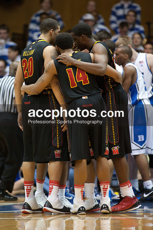 DURHAM, NC - JANUARY 09: Jordan Williams #20 and Sean Mosley #14 of the Maryland Terrapins huddle while playing the Duke Blue Devils on January 09, 2011 at Cameron Indoor Stadium in Durham, North Carolina. Duke won 71-64. (Photo by Peyton Williams/Getty Images) *** Local Caption *** Jordan Williams;Sean Mosley