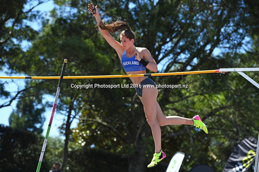 Eliza McCarthy during the Womens Pole Vault at the 2017 Jennian Homes NZ Track and Field Champs at Porritt Stadium, Hamilton, New Zealand on the 19th March 2017. Copyright photo: Jeremy Ward / www.photosport.nz