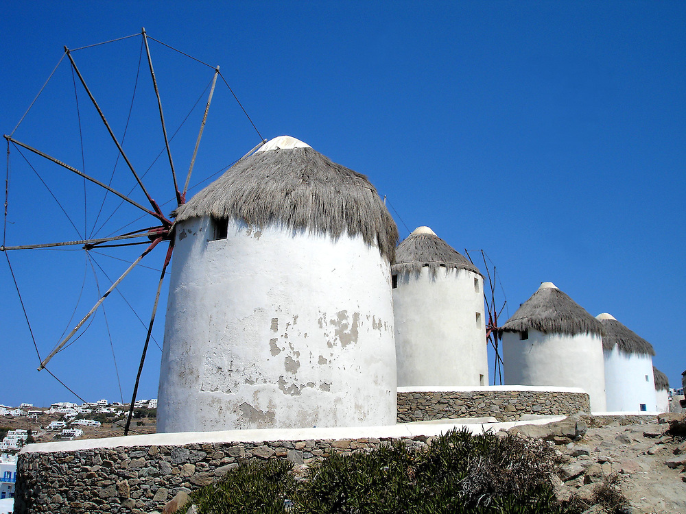 Five Iconic Windmills in Mykonos, Greece<br />