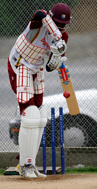 Sulieman Benn batting in the nets during a West Indes Training session, Eden Park Outer Oval, Auckland. 2 December 2008. Photo: Andrew Cornaga/PHOTOSPORT