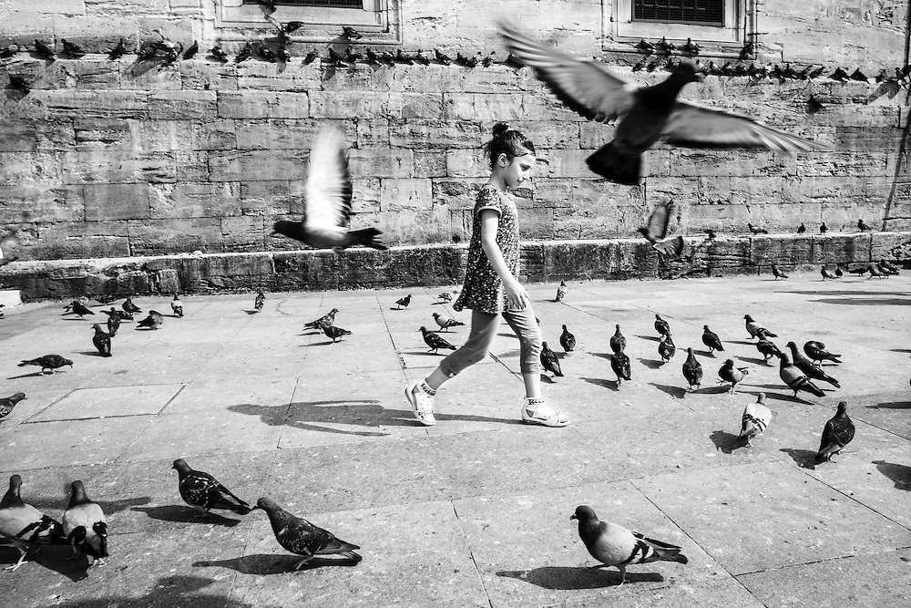 Girl playing with pigeons near the New Mosque, in Istanbul.