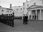07/06/1967<br /> 06/07/1967<br /> 07 June 1967<br /> New Swedish Ambassador to Ireland presents his credentials To President Eamon de Valera at Aras an Uachtarain. Picture shows His Excellency Bjorn Eyvind Bratt accompanied by Lieut. Sean Duggan, Officer in Charge of the Guard of Honour leaving the ceremony. .
