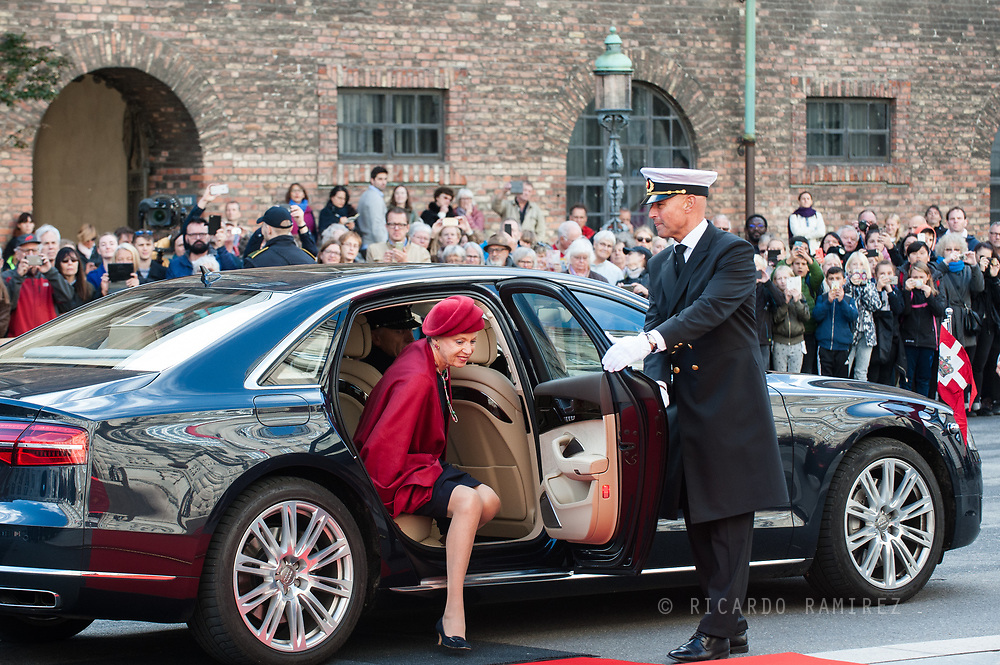 03.10.2017. Copenhagen, Denmark. <br /> Princess Benedikte's arrival to Christiansborg Palace for attended the opening session of the Danish Parliament (Folketinget).<br /> Photo: &copy; Ricardo Ramirez