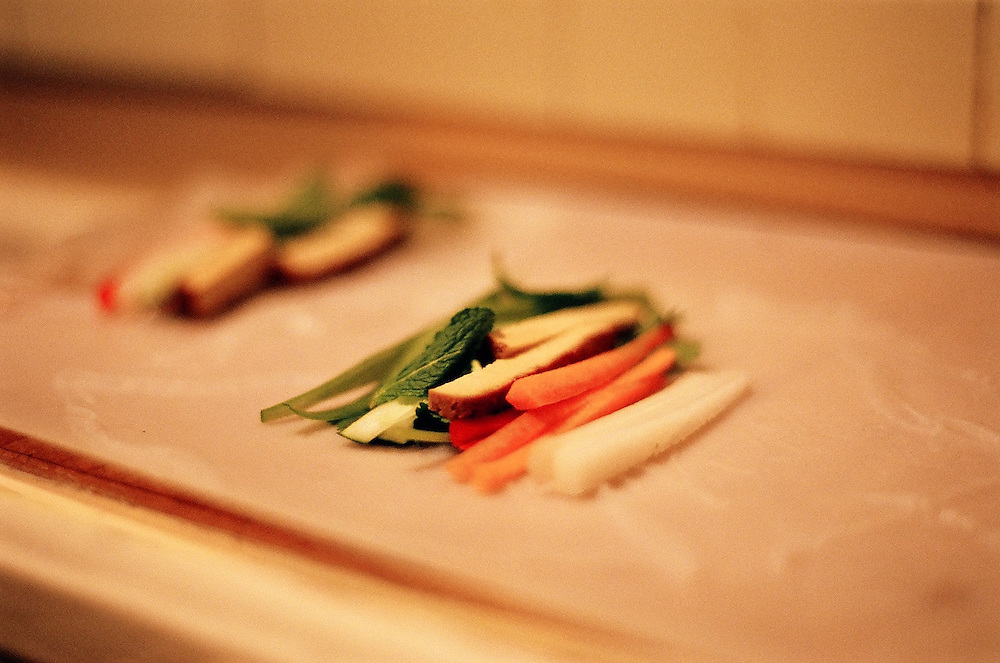 fresh spring rolls made for romantic dinner party featuring asian fusion cuisine