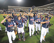 Mississippi players tip their hats to the crowd vs. Arkansas in a college baseball game at Oxford-University Stadium in Oxford, Miss. on Saturday, May 8, 2010. Ole Miss won 3-2.