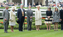 Left to right, HRH The PRINCE OF WALES, HRH The DUCHESS OF CORNWALL, HRH The DUKE OF YORK, PRINCE MICHAEL OF KENT, PRINCESS MICHAEL OF KENT, PRINCESS EUGENIE OF YORK and PRINCESS BEATRICE OF YORK at Day 1 of the 2013 Royal Ascot Racing Festival at Ascot Racecourse, Ascot, Berkshire on 18th June 2013.
