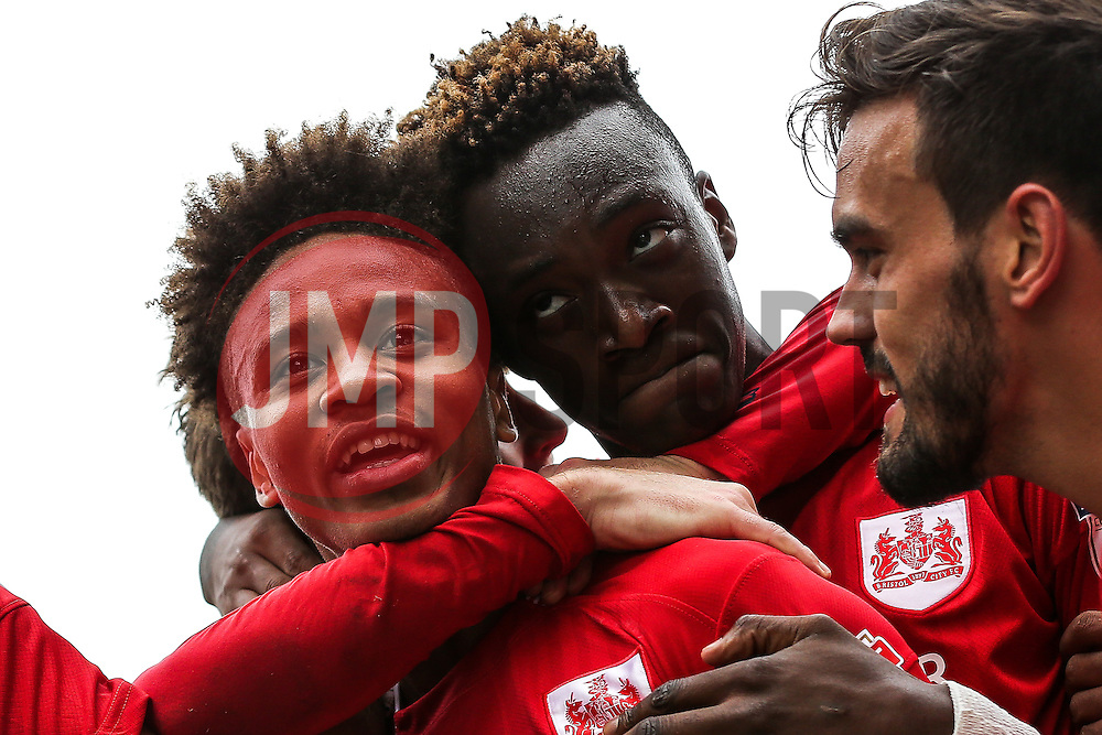 Bobby Reid of Bristol City celebrates with Tammy Abraham after scoring a goal to make it 0-3 - Rogan Thomson/JMP - 24/09/2016 - FOOTBALL - Craven Cottage Stadium - London, England - Fulham v Bristol City - Sky Bet EFL Championship.