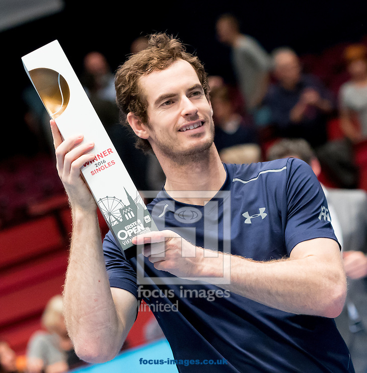 Andy Murray with the trophy during the final of the Erste Bank Open at Wiener Stadthalle, Vienna, Austria.<br /> Picture by EXPA Pictures/Focus Images Ltd 07814482222<br /> 30/10/2016<br /> *** UK &amp; IRELAND ONLY ***<br /> EXPA-PUC-161030-0474.jpg
