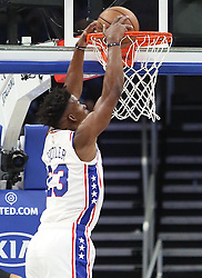 November 14, 2018 - Orlando, FL, USA - The Philadelphia 76ers' Jimmy Butler dunks against at Orlando Magic at the Amway Center in Orlando, Fla., on Wednesday, Nov. 14, 2018. (Credit Image: © Stephen M. Dowell/Orlando Sentinel/TNS via ZUMA Wire)