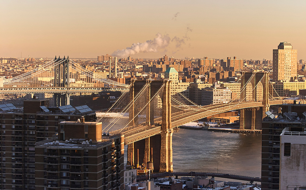 View of the Brooklyn Bridge and Manhattan Bridge from 150 Nassau Street