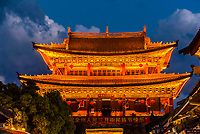 The North Gate of the Old Town (Dali Gucheng) seen from Fuxing Lu pedestrian street, Dali, Yunnan Province, China.