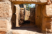 The Sun Temple was built in the 1200s CE by Ancestral Puebloans on Chapin Mesa in what is now Mesa Verde National Park, in Montezuma County, Colorado, Southwestern USA. Mesa Verde National Park is a UNESCO World Heritage Site. The park was established by Congress and President Theodore Roosevelt in 1906 near the Four Corners region. Starting around 7500 BCE, Mesa Verde was seasonally inhabited by nomadic Paleo-Indians. Later, Archaic people established semi-permanent rockshelters in and around the mesa. By 1000 BCE, the Basketmaker culture emerged from the local Archaic population, and by 750 CE the Ancestral Puebloans had developed from the Basketmaker culture. The Mesa Verdeans survived using a combination of hunting, gathering, and subsistence farming of crops such as corn, beans, and squash. They built the mesa's first pueblos sometime after 650, and by the end of the 1100s began building massive cliff dwellings. By 1285, following a period of social and environmental instability driven by a series of severe and prolonged droughts, they abandoned the area and moved south into what is today Arizona and New Mexico.