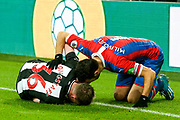 Luka Milivojevic (#4) of Crystal Palace checks on Sean Longstaff (#36) of Newcastle United following a foul during the Premier League match between Newcastle United and Crystal Palace at St. James's Park, Newcastle, England on 21 December 2019.