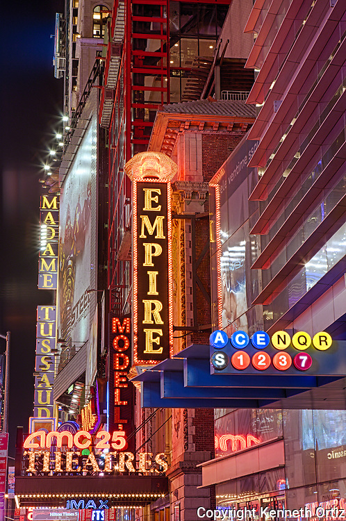 Shot of the various Marquees on 42nd Street Times Square in New York City.
