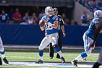 September 28, 2014: Indianapolis Colts quarterback Andrew Luck (12) drops back during a football game between the Indianapolis Colts and Tennessee Titans at Lucas Oil Stadium in Indianapolis, IN. NFL American Football Herren USA SEP 28 Titans at Colts PUBLICATIONxINxGERxSUIxAUTxHUNxRUSxSWExNORxONLY Icon1409280644<br /> <br /> September 28 2014 Indianapolis Colts Quarterback Andrew Luck 12 Drops Back during A Football Game between The Indianapolis Colts and Tennessee Titans AT Lucas Oil Stage in Indianapolis in NFL American Football men USA Sep 28 Titans AT Colts PUBLICATIONxINxGERxSUIxAUTxHUNxRUSxSWExNORxONLY