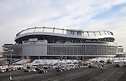 The Sports Authority Field at Mile High stadium stands tall in the background as the parking lot starts to fill up in this wide angle, general view photograph taken before the Cincinnati Bengals 2015 NFL week 16 regular season football game against the Denver Broncos on Monday, Dec. 28, 2015 in Denver. (©Paul Anthony Spinelli)