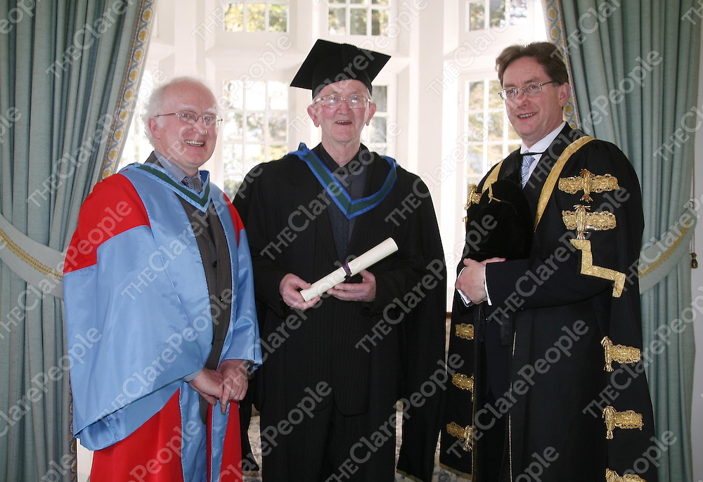 Pictured receiving his honourary Masters of Arts was Br S&eacute;an McNamara, with (left) Professor Michael O&rsquo;Connell, NUI Galway and (right) Dr James J. Browne, NUI Galway President. &nbsp;&nbsp;Br Se&aacute;n Mac Conmara was honoured at NUI Galway this week for his dedication to teaching, for his many publications and for his active engagement in voluntary organisations.<br /> &nbsp;