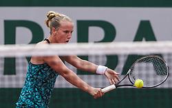 May 29, 2018 - Paris, France - Richel Hogenkamp of Netherland returns the ball to Maria Sharapova of Russia during the first round at Roland Garros Grand Slam Tournament - Day 3 on May 29, 2018 in Paris, France. (Credit Image: © Robert Szaniszlo/NurPhoto via ZUMA Press)