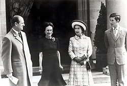 May 19, 1972 - Paris, France - PRINCE PHILIP, Duke of Edinburgh along with the Duchess of Windsor, WALLIS SIMPSON, QUEEN ELIZABETH II and PRINCE CHARLES visit EDWARD VIII at home, because he is dying and can no longer take the stairs. PICTURED: Members of the Royal Family leaving the Duke's home after a visit. (Credit Image: © Keystone Press Agency/Keystone USA via ZUMAPRESS.com)