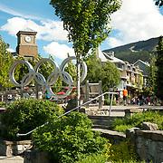 The Whistler Village with the Olympic Rings, near the Whistler Olympic Plaza.  Whistler BC, Canada.