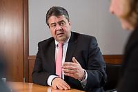 01 APR 2015, BERLIN/GERMANY:<br /> Sigmar Gabriel, SPD, Bundeswirtschaftsminister, waehrend einem Interview, Bundesministerium fuer Wirtschaft und Energie<br /> IMAGE: 20150401-02-017