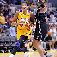 22 June 2014: forward/center Candace Parker (3) of the Los Angeles Sparks drives past guard/forward Kayla McBride (21) of the San Antonio Stars during the San Antonio Stars 72-69 victory over the Los Angeles Sparks, at the Staples Center, Los Angeles, California, USA.