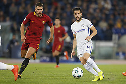 October 31, 2017 - Rome, Italy - Rome, Italy - 31/10/2017..(L-R) Edin Dzeko of Roma in duel with Cesc Fabregas of Chelsea during the UEFA Champions League Group C soccer match at the Olympic stadium in Rome..UEFA Champions League Group C soccer match between AS Roma and Chelsea FC at the Olympic stadium in Rome. AS Roma defeating Chelsea FC 3-0. (Credit Image: © Giampiero Sposito/Pacific Press via ZUMA Wire)