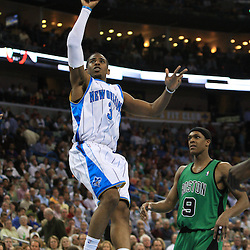 11 February 2009:  New Orleans Hornets guard Chris Paul (3) shoots over Boston Celtics guard Rajon Rondo (9) during a 89-77 loss by the New Orleans Hornets to the Boston Celtics at the New Orleans Arena in New Orleans, LA.