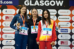 SCHULTE Daniela, FISHER Mary, LI Guizhi GER, NZL, CHN at 2015 IPC Swimming World Championships -  Women's 100m Freestyle S11 PODIUM