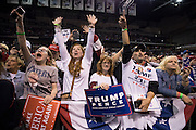 Supporters of Republican Presidential nominee Donald J. Trump react as he arrives onstage for a rally at Mohegan Sun Arena in Wilkes-Barre Twp. on Monday, Oct. 10, 2016.<br />