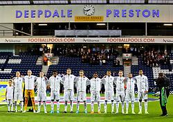 England U21 sing the national anthem - Mandatory byline: Matt McNulty/JMP - 07966386802 - 03/09/2015 - FOOTBALL - Deepdale Stadium -Preston,England - England U21 v USA U23 - U21 International