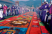 GUATEMALA, FESTIVALS Semana Santa (Easter Week) in Antigua, Good Friday procession over 'Alfombras' carpets made of colored sand or flowers