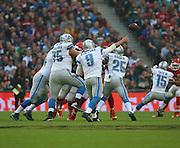 Detroit Lions Matthew Stafford throwing a pass during the Kansas City Chiefs v Detroit Lions  NFL International Series match at Wembley Stadium, London, England on 1 November 2015. Photo by Matthew Redman.