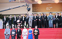 Jun Murakami, Makiko Watanabe, Nijiro Murakami, director Naomi Kawase, Jun Yoshinaga, Miyuki Matsuda at the Still The Water gala screening red carpet at the 67th Cannes Film Festival France. Tuesday 20th May 2014 in Cannes Film Festival, France.