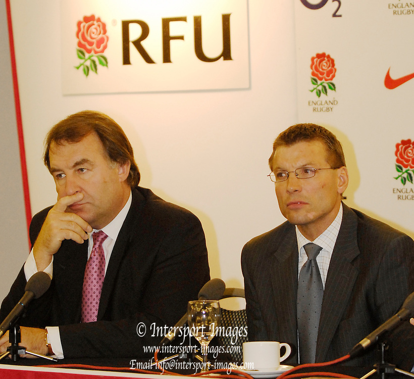 RFU Stadium, Twickenham, GREAT BRITAIN,  RFU Press conference to introduce,  Rob ANDREW, England's new director of elite rugby,  [left] RFU chief executive Francis Baron, 07/09/2006.  Photo  Peter Spurrier, © Intersport Images,  Tel +44 [0] 7973 819 551,  email images@intersport-images.com