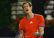 Andy Murray of Britain reacts after he lost a game against Roger Federer of Switzerland during their final match at the Emirates Dubai Tennis Championships in Dubai, March 3, 2012. .