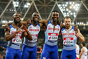 The Great Britain relay team after the Men's 4x100m relay during the Athletics World Cup at the London Stadium, London, England on 14 July 2018. Picture by Toyin Oshodi.