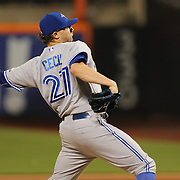 Pitcher Brett Cecil, Toronto Blue Jays, pitching during the New York Mets Vs Toronto Blue Jays MLB regular season baseball game at Citi Field, Queens, New York. USA. 15th June 2015. Photo Tim Clayton