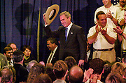 Governor George Bush arrives at Radisson Hotel near St. Louis International Airport, where he were endorsed by the National Troopers Coalition. NORWAY OUT except Dagbladet. DIGITAL Photo: Orjan Ellingvag / Corbis Sygma