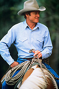 "LIVINGSTON, MT - AUGUST:  Robert Redford sits on his horse during the filming of ""The Horse Whisperer"" in 1997. (Photo by John Kelly/Getty Images)"