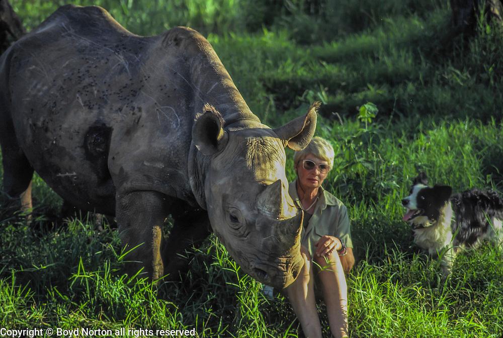 Anna Merz and Samia, black rhino