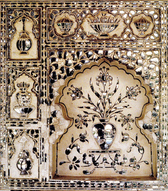 Jaipur, Amber Fort, established 1592 by Man Singh I, with palaces added by Jai Singh I (r 1621-67).  Details of wall decor in the glass palace, or sheesh mahal.