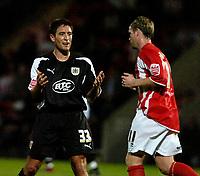 Photo: Ed Godden.<br /> Cheltenham Town v Bristol City. Carling Cup. 22/08/2006.<br /> Bristol's Lee Johnson (L) shows his frustration.
